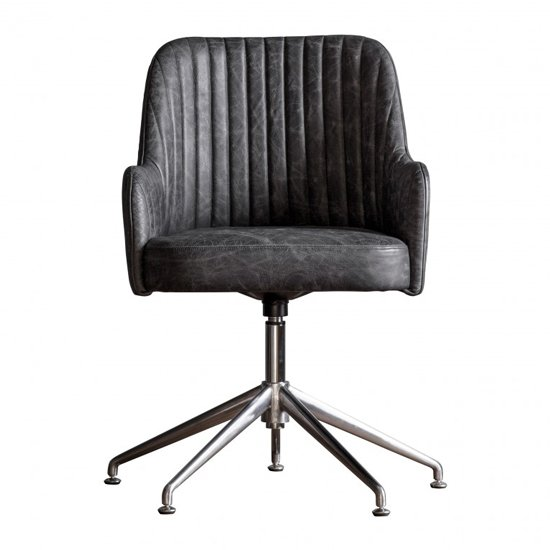 Curie Swivel Faux Leather Office Chair In Antique Ebony