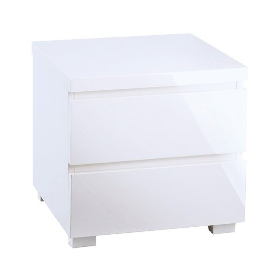 Curio Bedside Cabinet In White High Gloss With 2 Drawers
