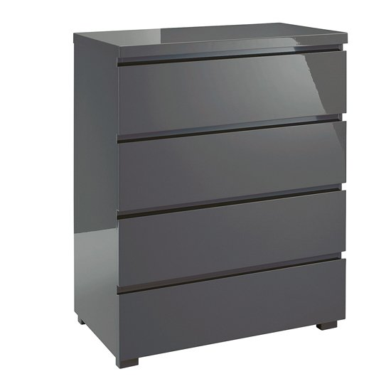 Curio Chest Of Drawers In Charcoal High Gloss With 4 Drawers