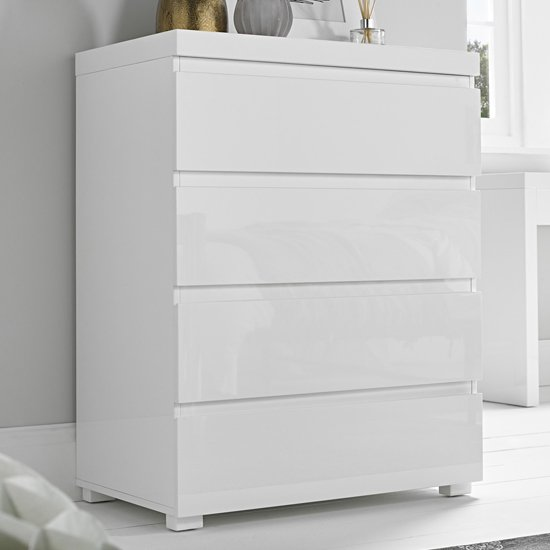 Curio Chest Of Drawers In White High Gloss With 4 Drawers
