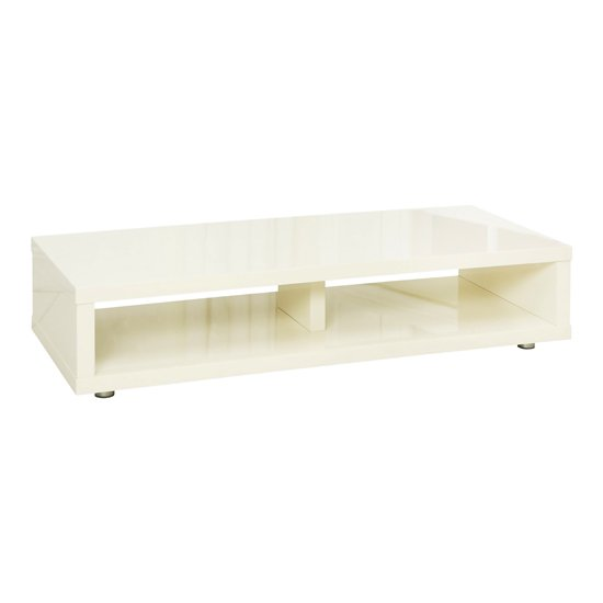 Curio Cream High Gloss Finish Low Board TV Stand With 2 Shelf