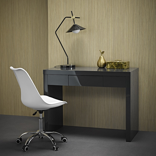 Puro Dressing Table In Charcoal High Gloss With 1 Drawer_2
