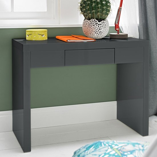 Puro Dressing Table In Charcoal High Gloss With 1 Drawer