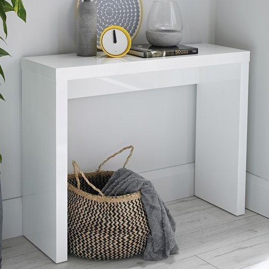 Curio Modern Console Table Rectangular In White High Gloss_1