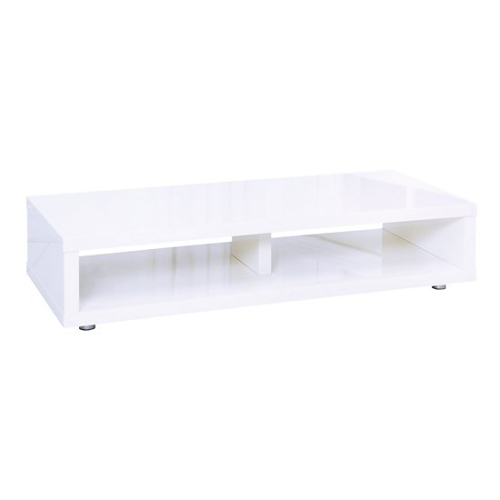 Curio Modern TV Stand Rectangular In White High Gloss