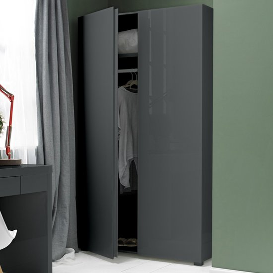 Curio Modern Wardrobe In Charcoal High Gloss With 2 Doors_1