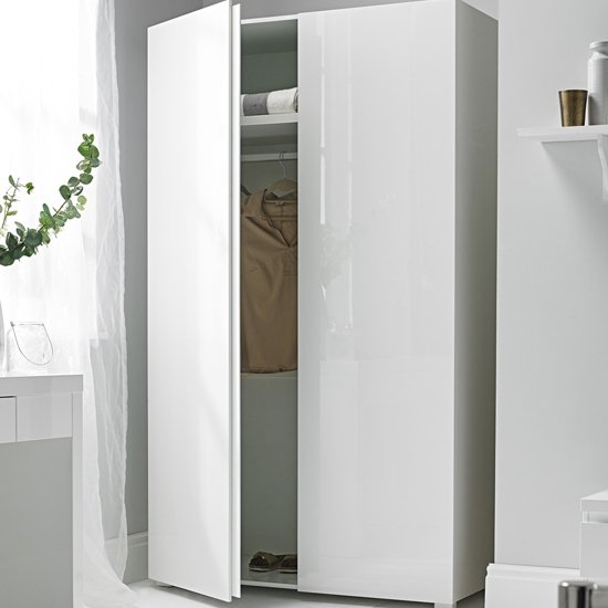 Curio Modern Wardrobe In White High Gloss With 2 Doors_1