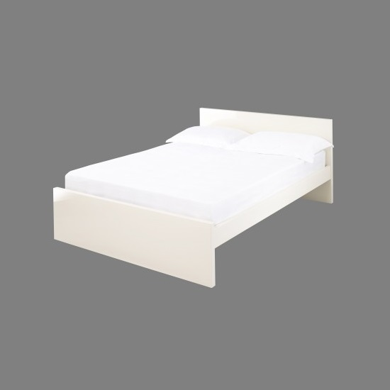 Curio Cream High Gloss Finish Double Bed