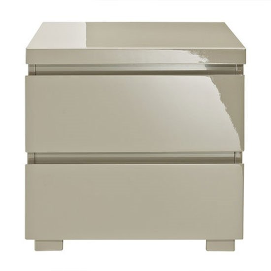 Curio Stone High Gloss Finish 2 Drawer Bedside Cabinet