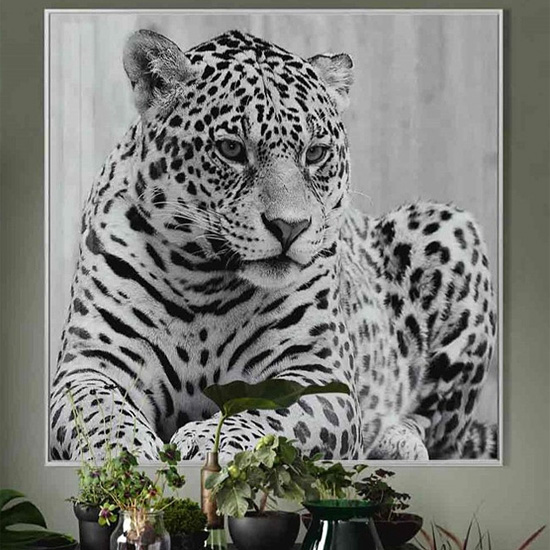 Cursa Cheetah Black And White Picture Glass Wall Art