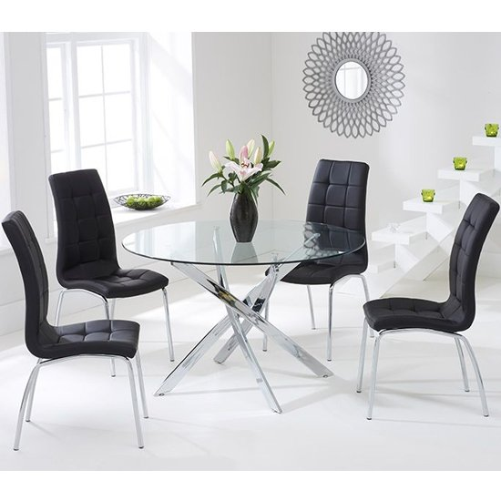 Cursa Round Glass Dining Table with 4 Gala Black Dining Chairs