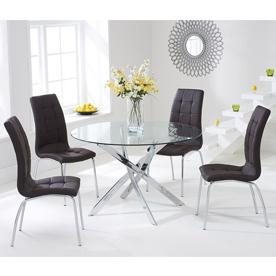 Corsa Round Glass Dining Table with 4 Gala Brown Dining Chairs