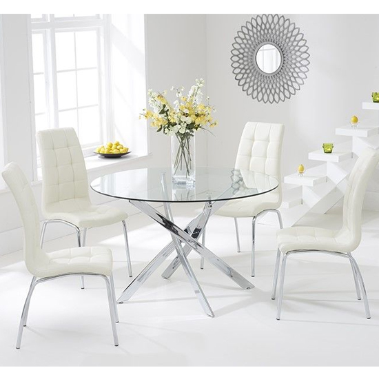 Cursa Round Glass Dining Table with 4 Gala Cream Dining Chairs