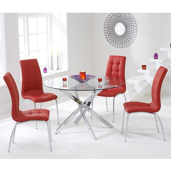 Corsa Round Glass Dining Table with 4 Gala Red Dining Chairs