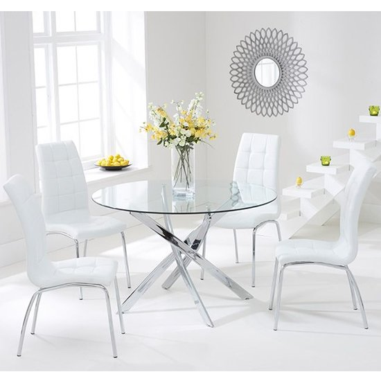 Cursa Round Glass Dining Table with 4 Gala White Dining Chairs
