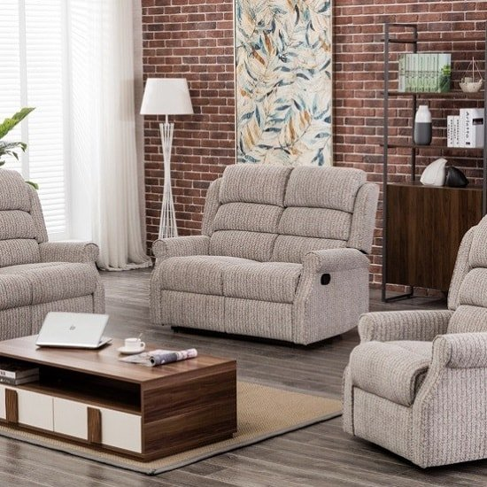 Curtis Fabric Recliner 2 Seater Sofa In Natural_1