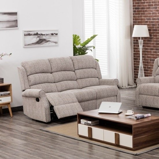 Curtis Fabric Recliner 3 Seater Sofa In Natural