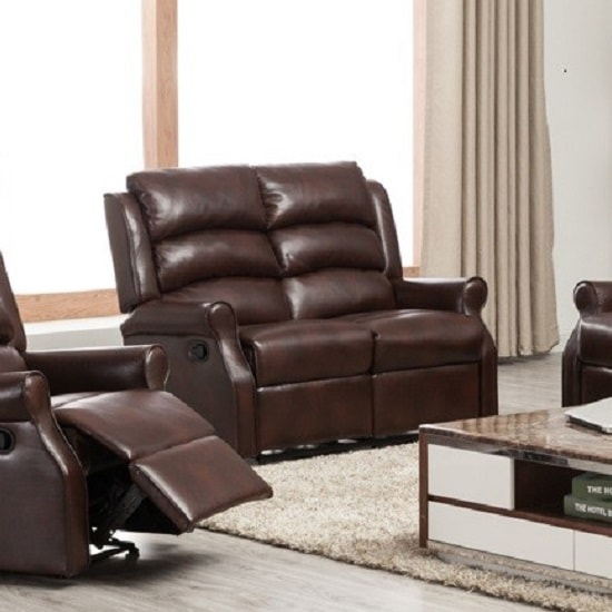 Curtis Recliner 2 Seater Sofa In Brown Faux Leather