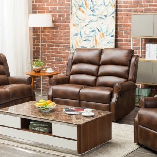 Image of Curtis Recliner 2 Seater Sofa In Tan Faux Leather