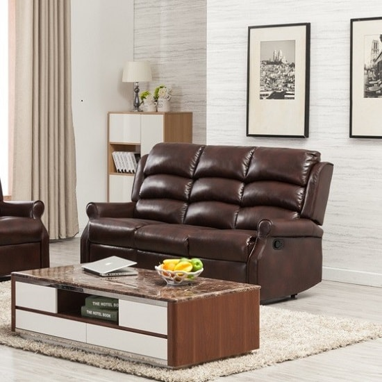 Image of Curtis Recliner 3 Seater Sofa In Brown Faux Leather
