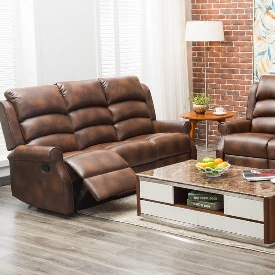 Image of Curtis Recliner 3 Seater Sofa In Tan Faux Leather