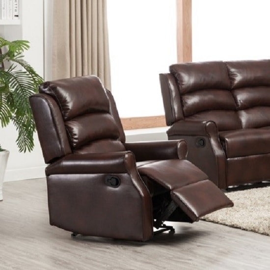 Curtis Recliner Sofa Chair In Brown Faux Leather_1