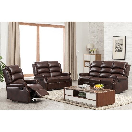 Curtis Recliner Sofa Suite In Two Tone Brown Faux Leather
