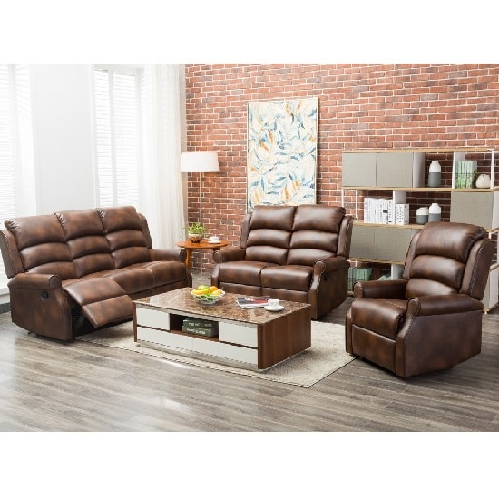 Curtis Recliner Sofa Chair In Tan Faux Leather_2