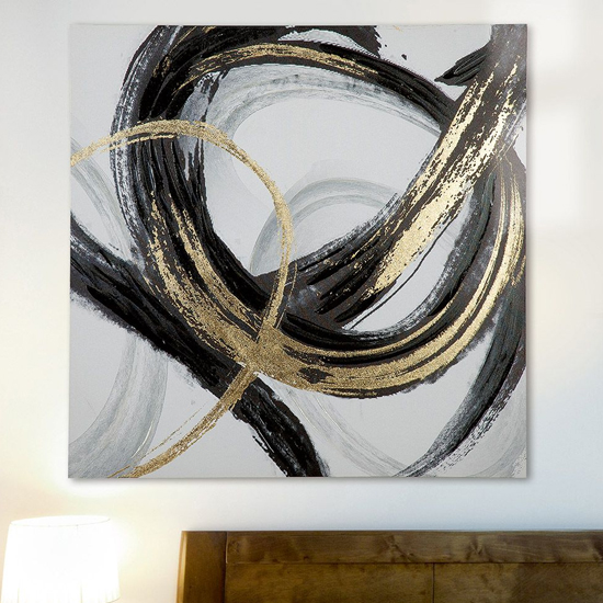 Curvatura Picture Canvas Wall Art In Black And Gold