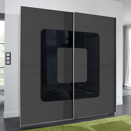 Curve Sliding Door Wardrobe In Graphite And Aluminium Effect