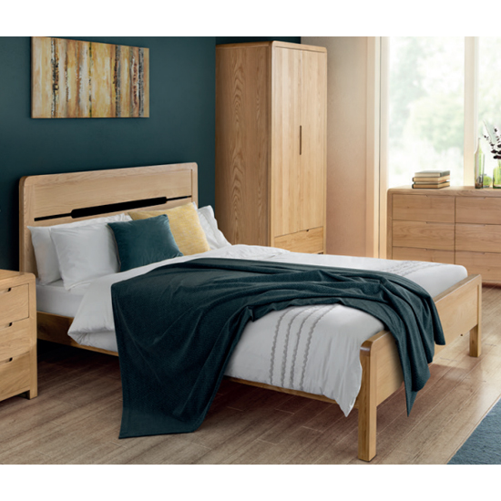 Curve Wooden King Size Bed In Oak