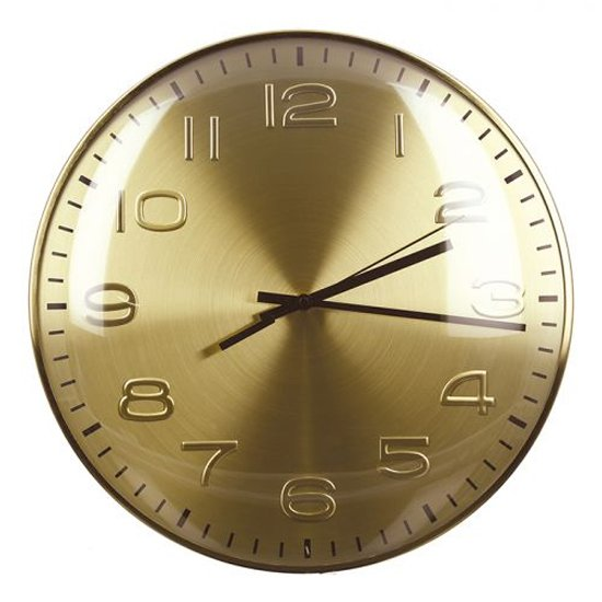 Curved Glass Wall Clock With Gold Metal Frame