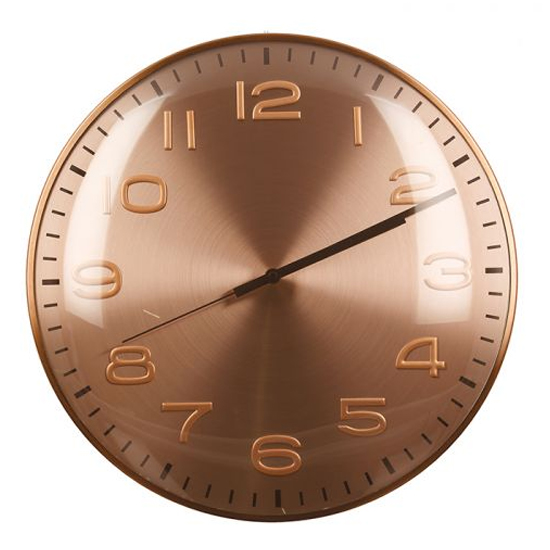 View Curved glass wall clock with pink metal frame
