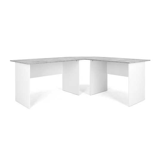 Cushing Round Corner Computer Desk In Concrete And White_3