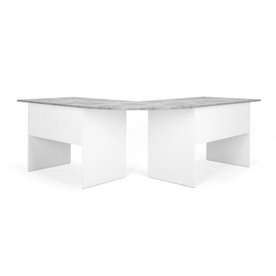Cushing Round Corner Computer Desk In Concrete And White_4