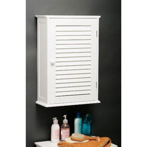 custom wooden bathroom wall cabinet in white with 1 door