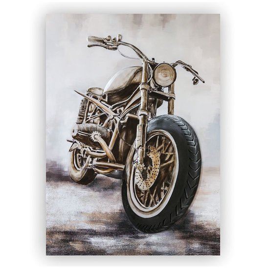 View Custom bike 3d picture canvas wall art in silver and grey