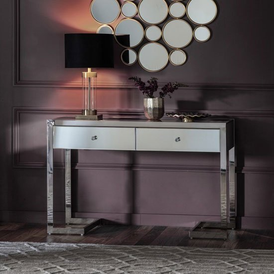 Cutler Mirrored Console Table In Clear With 2 Drawers