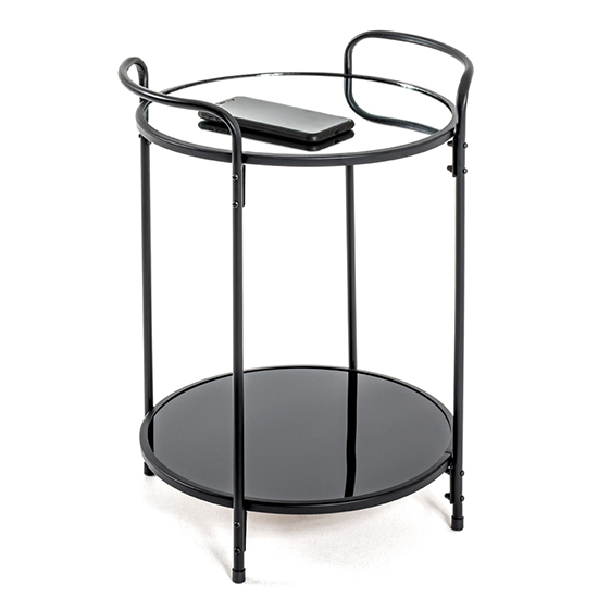 Cuyahoga Round Mirrored Side Table With Black Metal Frame