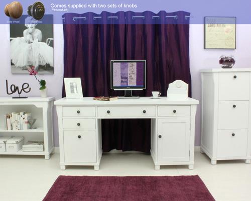 Read more about Hampton twin pedestal hidden computer desk in white with 1 door