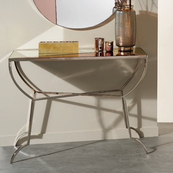 Cyber Mirrored Console Table In Multicoloured And Nickel Finish_1