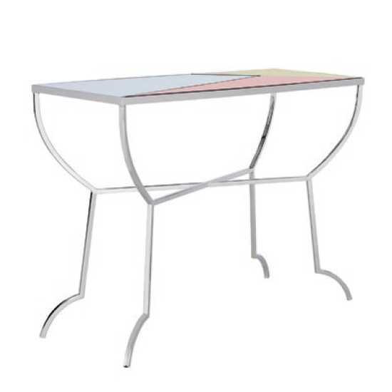 Cyber Mirrored Console Table In Multicoloured And Nickel Finish_2
