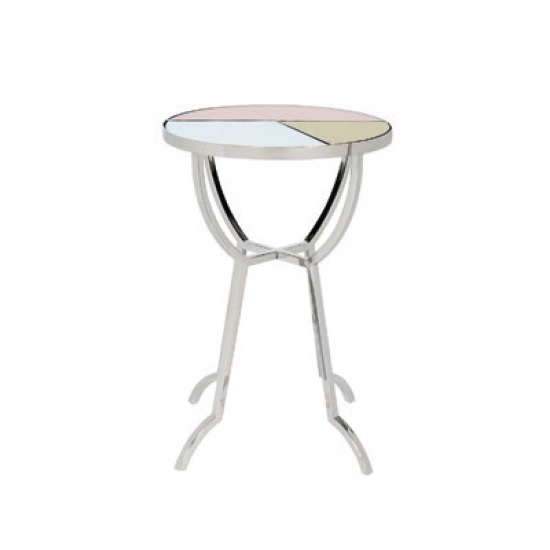Cyber Mirrored Side Table Round In Multicoloured And Nickel