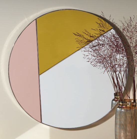 Cyber Modern Wall Mirror Round In Multicoloured
