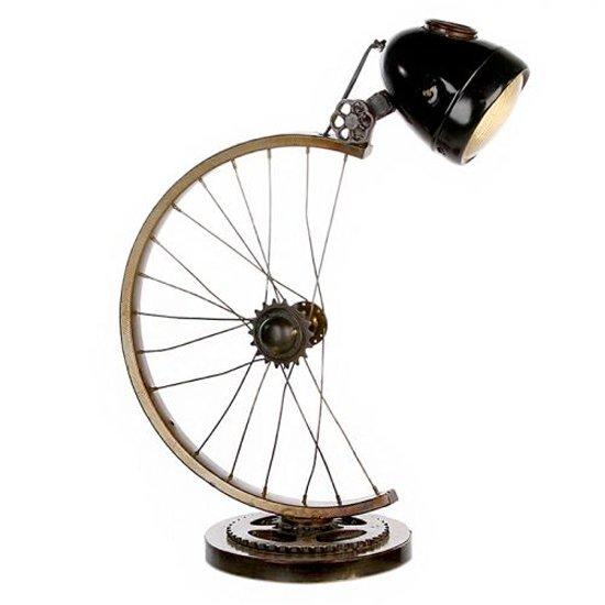 Cycle Iron Table Lamp In Antique Brown And Gold