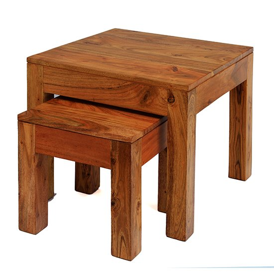 Cygni Set Of 2 Solid Acacia Nesting  Tables In Brushed Oak