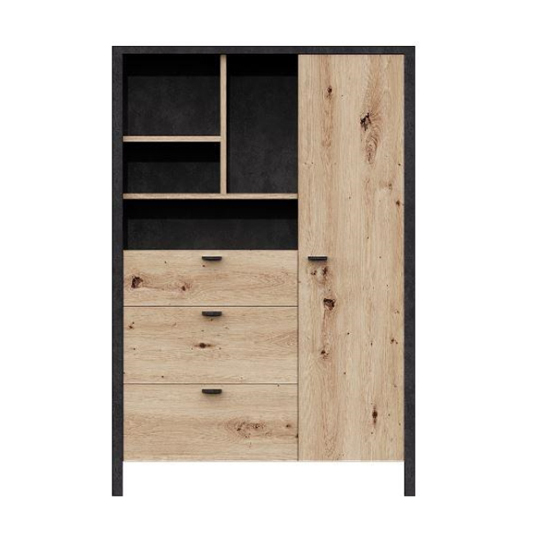 Cygnus Highboard In Artisan Oak With 3 Drawers And 1 Door
