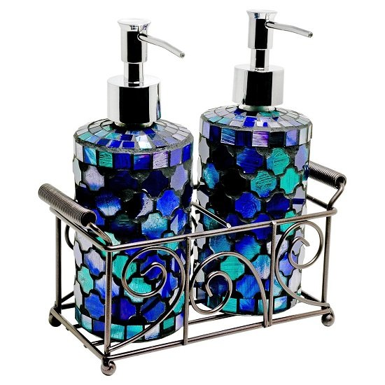 Orion Mosiac Glass Soap Dispensers In Aqua Blue With Basket