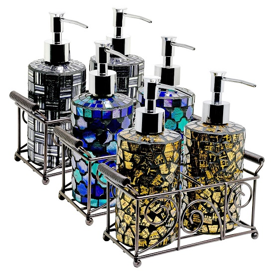 Orion Mosiac Glass Soap Dispensers In Gold With Basket_2