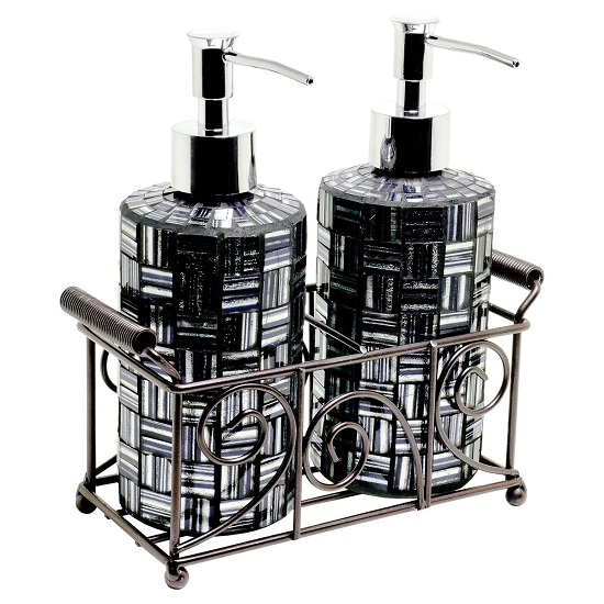 Orion Mosiac Glass Soap Dispensers In Silver Black With Basket